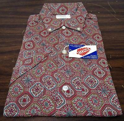 VINTAGE 1960's NOS FASHIONAIRE EASY CARE CONE ALL COTTON ATOMIC SHIRT SZ 14 1/2