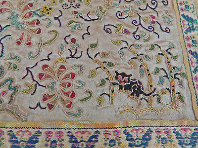 Antique Chinese Silk Embroidery Forbidden Stitch Peking Knot Black Cat Robe Trim
