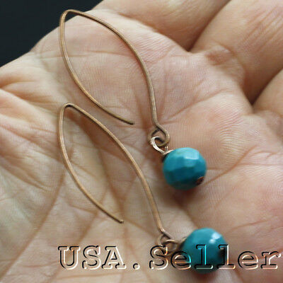 10CT 100% Natural Blue Kingman Turquoise Beads Copper Pairs Earrings D091