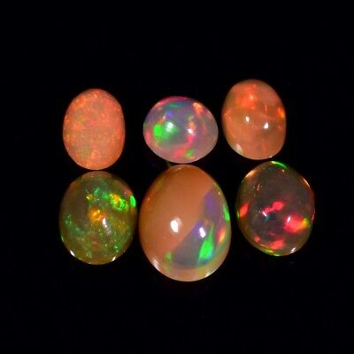 6pcs Lot 3.17ct t.w Round & Oval Natural Play-of-Color Crystal Opal, Ethiopia