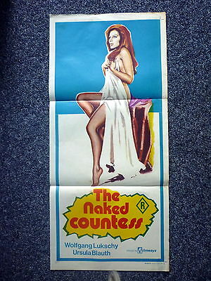 THE NAKED COUNTESS Rare Original 1970s Australian Daybill Movie Poster