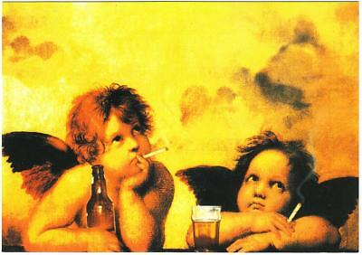 Raphael Angels Cherubs Smoking Cigarettes and Drinking Beer Altered Art Postcard