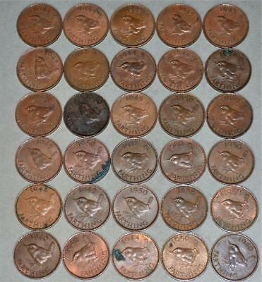 Great Britain Farthing Lot of 30 Coins - King George VI