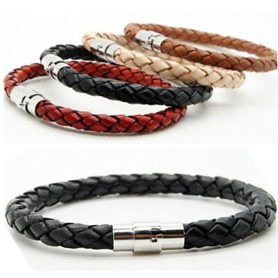 Unisex Women Men Braided Leather Steel Magnetic Clasp Bracelet Handmade Punk