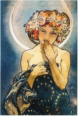 Study for The Moon and the Stars by Alphonse Mucha Repro Art Postcard