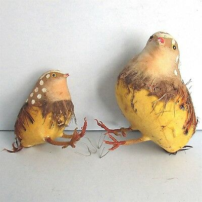 2 Bob White QUAIL Decorative Display Figure Painted with Feather Vintage