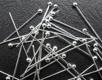 300pcs Silver plated copper solid ball head pin 30mm