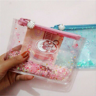 PVC Shiny Transparent Jelly Bag Sequins Purse Shell Clutch Zipper Coin Purse B