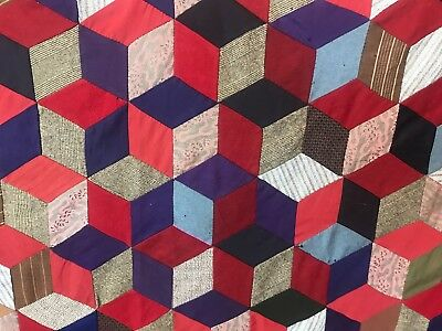 Vintage Hand Quilted Handmade Blocks Cubes Quilt Top Geometric Pattern 80X54