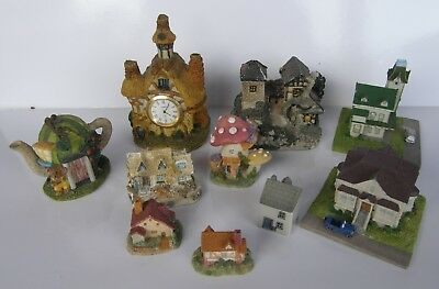 Collection of 10 Mystical Magical Miniature Fairy Village Houses