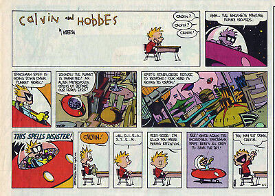 Calvin and Hobbes by Bill Watterson - color Sunday comic page - October 2, 1994