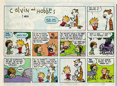 Calvin and Hobbes by Bill Watterson - color Sunday comic page - October 9, 1994