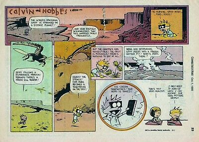 Calvin and Hobbes by Watterson - full page color Sunday comic - October 1, 1995