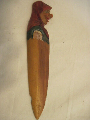 Old Wood-Wooden Old Lady Man Hand Carved Painted Letter Opener