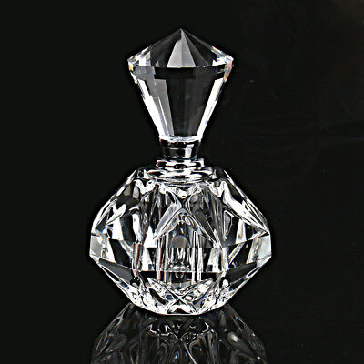 Clear Cut Glass Crystal Carved Perfume Bottle Wedding Lady Gift Refillable 5ml