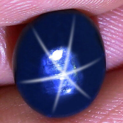 7.55ct.Alluring! 100%Natural 6 Rays Deep Blue Star Thailand's Sapphire 12x10mm..