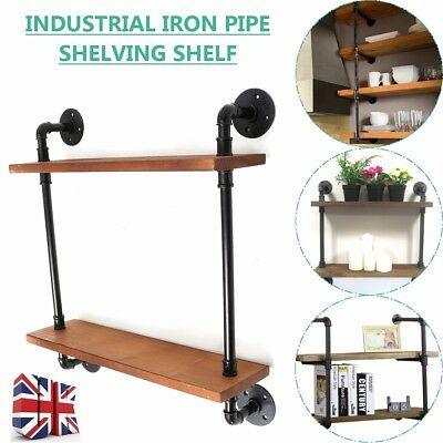 2 Tier Wooden Retro Industrial Style Black Wall Metal Shelves Storage Home Decor