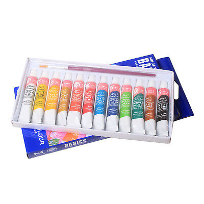 12 Color Acrylic Paint Set 6ml Tubes Artist Draw Painting Rainbow Pigment-US