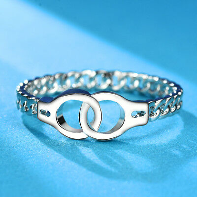 Creative Fashion Handcuffs Ring Chic Link Chain Design 925 Silver Jewelry Gifts