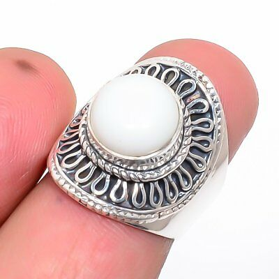 Italian White Coral Vintage Style Silver Handmade Jewelry Ring 6(237-83)