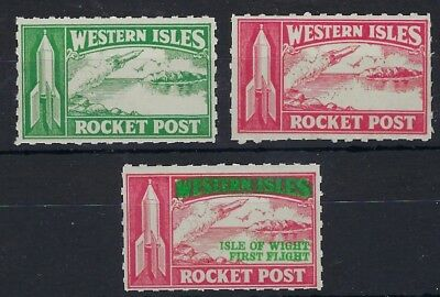 Great Britain 1934 Rocket Mail Western Isles (2) and Isle of Wight flight labels