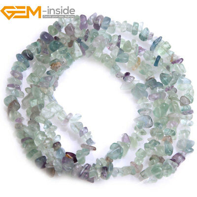 5-8mm Freeform Natural Gemstone Fluorite Chips Loose Beads Jewelry Making 34""