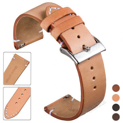 Genuine Leather Watch Band 12 14 16 18 20 22 24mm Quick Release Pin Wrist Strap