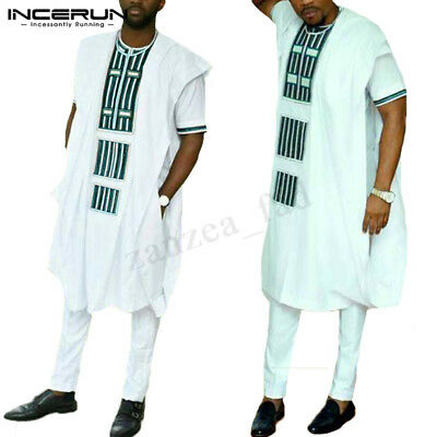 Traditional Men's Kaftan African Mexican Hippie Poncho Sleeveless Casual T-Shirt