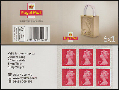Royal Mail 6x1st class Padlock Cover Plain (Non cylinder) Stamp Book on SBP1