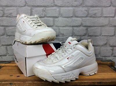 Fila Ladies Uk 4.5 Eu 38 Disruptor Ii White Patent Rose Gold Chunky Trainers *6*