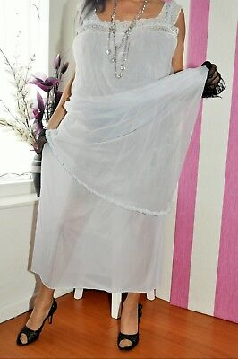 vintage lilac Winfield nightdress gown sheer double layer nylon TV CD size 16/18