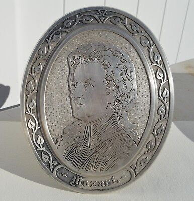 """Superb Antique Silver Plated On Bronze Plaque Of Wolfgang Amadeus Mozart 11"""""""