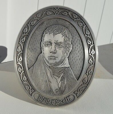 """Superb Antique Silver Plated On Heavy Bronze Plaque Of Sir Walter Scott 11"""" Tall"""