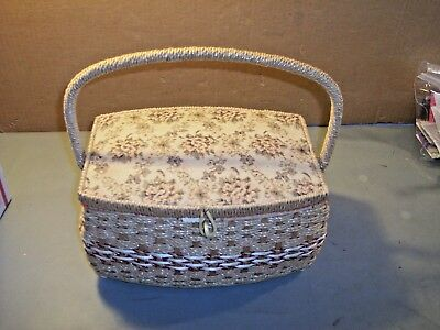 Vintage Sewing Basket Tapestry Top Satin Lined + Tray  Made In Japan
