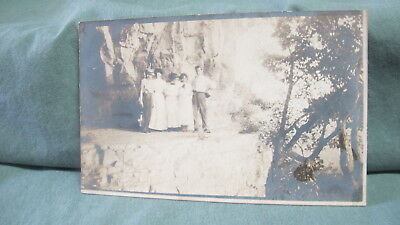 Early Real Photo  Postcard  People on Mountain Ledge