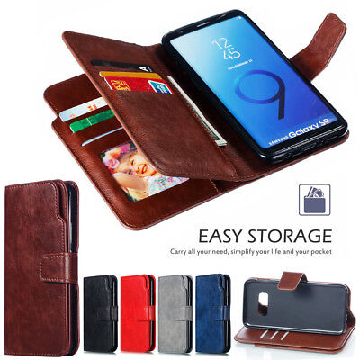 9 Cards Leather Wallet Magnetic Flip Case Cover For Samsung S8 S9 S10 Plus Lite