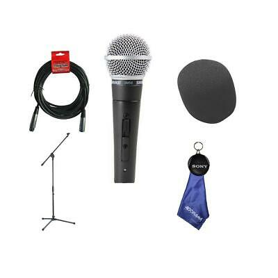 Shure SM58S Cardioid Dynamic Handheld Wired Microphone With Accessory Bundle