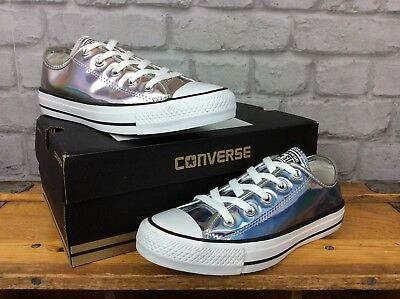 Converse All Star Ladies Hologram Silver Trainers Youth Girls
