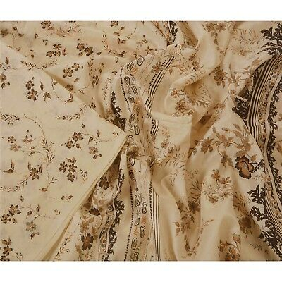 Sanskriti Vintage Cream Saree 100% Pure Silk Printed Craft 5 Yard Fabric Sari