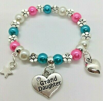 colours Personalised GRANDDAUGHTER kids girls charm bracelet gift bag 30