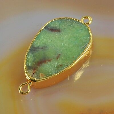 Australia Natural Chrysoprase Connector Gold Plated H129052