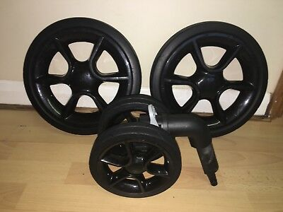 Quinny Moodd/ Buzz Full Set Of Black Wheels, Two Rear, One Front, Foam Filled