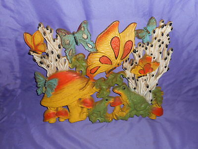 """VINTAGE HOMCO HOME INTERIOR 70'S MUSHROOMS BUTTERFLIES FROG WALL PLAQUE 17 x 14"""""""