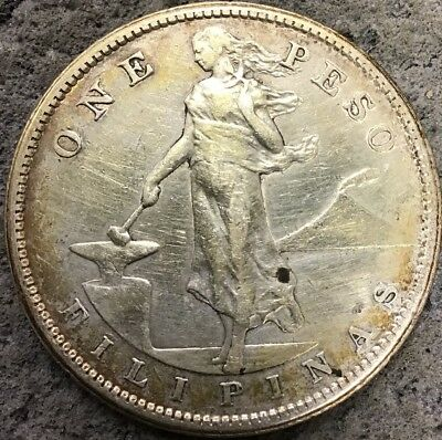 1907-S Philippines 1 Peso Silver Xf    D