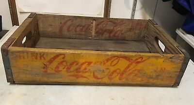 Vintage Chattanooga 1955 Coca Cola Yellow Wood Soda Pop Carrying Delivery Crate
