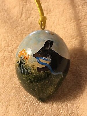 Hand Painted Spring Egg Gourd Ornament Dachshund Away With May Day Weenie Dog