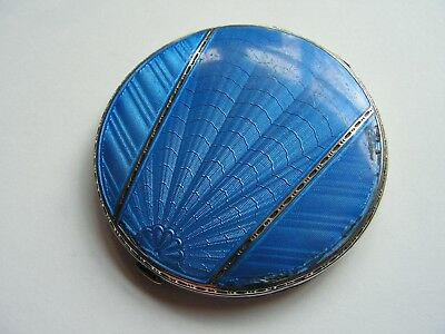 George V Art Deco Silver Engine Turned Blue Guilloche Enamelled Ladies Compact