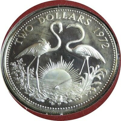 elf Bahamas 2 Dollars 1972 FM  Silver  Proof  Flamingos in card