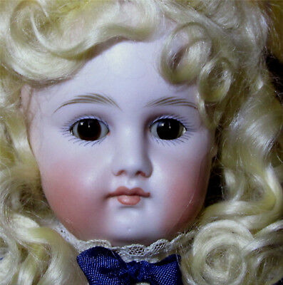 Kestner early antique doll pale bisque closed mouth dressed feather brows