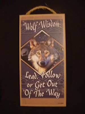 WOLF WISDOM wood INSPIRATIONAL SIGN wall hanging  NOVELTY PLAQUE Animal USA MADE